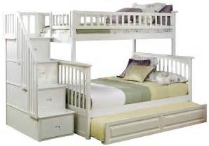 Bunk Bed With Trundle And Stairs Columbia Staircase Bunk Bed Raised Panel Trundl 2 263 63 Furniture Store