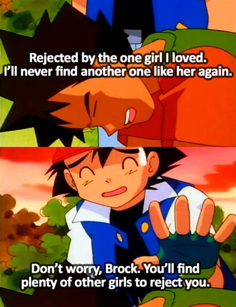 ash ketchum cheers up a brock with a broken heart on pokemon