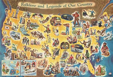 The American Folk folklore and legends of our country geographicus antique maps