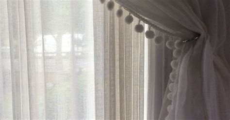 ball fringe curtains muslin curtain with pom pom edge pom poms and ball