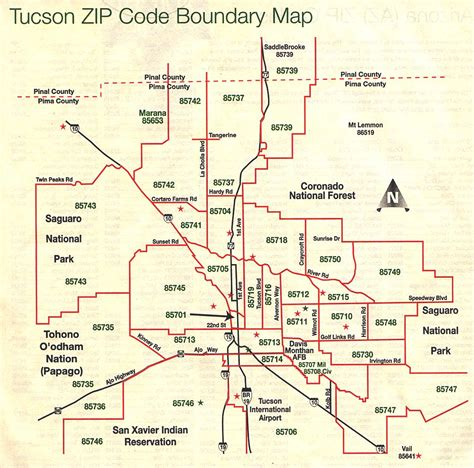 printable zip code map of tucson az tucson zip code map