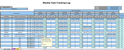 Weekly Time Tracking Spreadsheet Weekly Time Tracking Excel Tracking Template