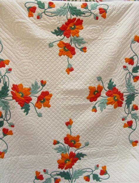 Poppy Applique Quilt Pattern by Poppies Applique Quilt Mint Sold Rennels Antique