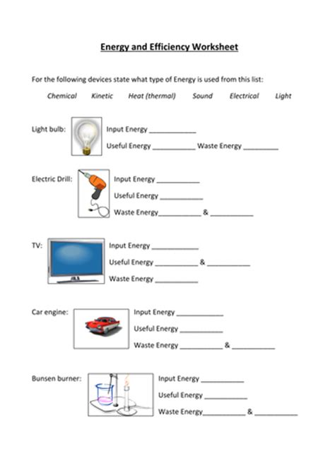 Energy Transfer Worksheet Answers energy transfers and sankey diagram worksheet by