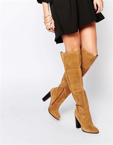 aldo bove leather block heeled the knee boots in