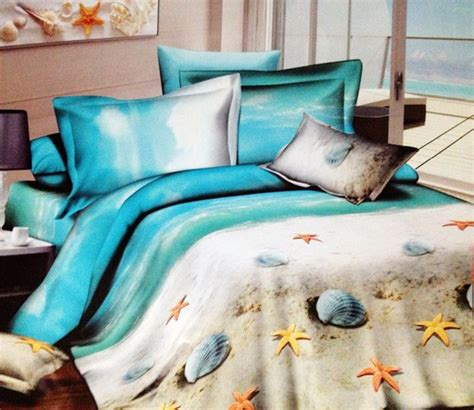 beach themed comforter sets queen aliexpress com buy blue ocean seashells sandy beach