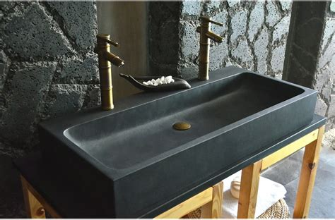 1000mm Double Sink bathroom Black Basalt Stone Basin   LOOAN DARK
