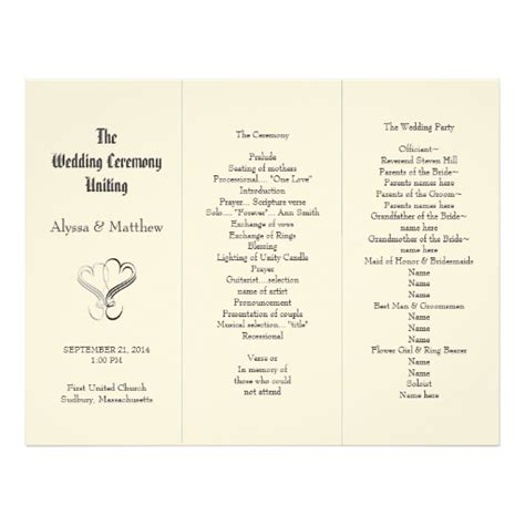 folded wedding program template blush tri fold two hearts wedding program template