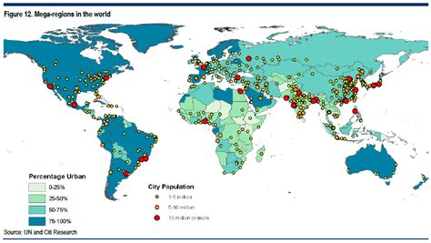 world map largest cities here are the world s 21 mega regions business insider