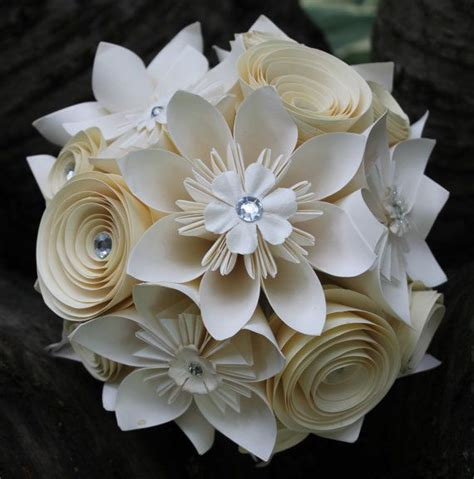 Origami Flower Wedding - origami and spiral bouquet paper bridal bouquet paper