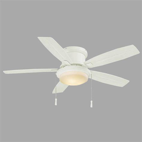 Hton Bay Roanoke 48 In Indoor Outdoor White Ceiling Ceiling Fan Light Kit White