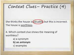 context clues video and worksheet synonyms antonyms