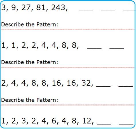 math pattern activities for second grade math patterns worksheets grade 4 worksheets for all