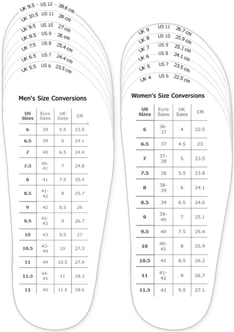 slipper size chart shoes measurement chart for printable and