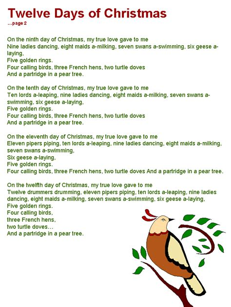 twelve days of christmas lyrics page 2 christmas