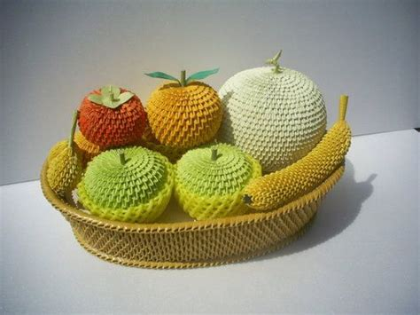 Origami Fruit - 3d origami orange cantaloupe green apple and banana