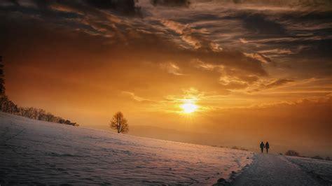 wallpaper sunset couple romantic  nature