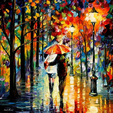 Under The Red Umbrella Painting by Leonid Afremov