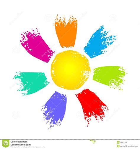 colorful sun sun with colorful rays stock vector image 38977946