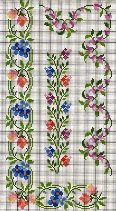 cenefas flores tutoriales y diys punto de cruz cenefa de flores con
