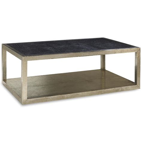Silver Coffee Tables Nash Regency Silver Croc Black Leather Coffee Table Kathy Kuo Home