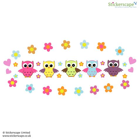 wall stickers owl owl and flowers wall sticker stickerscape uk