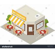 Vector Isometric Restaurant Cafe Flat Building Stock