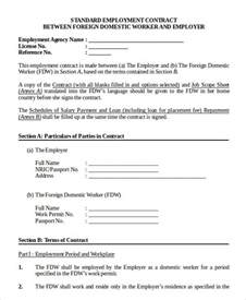 Contract Work Template employment contract template 9 free sle exle