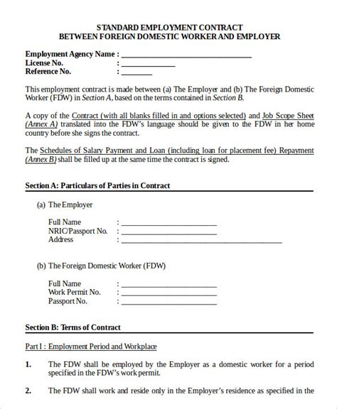 work agreement template employment contract template 9 free sle exle