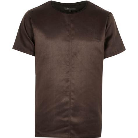 Longline T Shirt Raglan Suede Black And Brown river island brown faux suede t shirt in brown for lyst