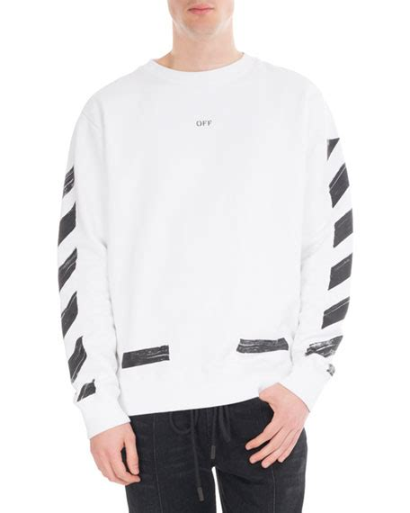 off white brushed diagonal arrows cotton sweatshirt