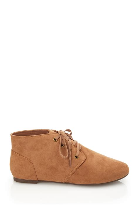 Boots Shoes L Gold 21 25 forever 21 faux suede chukka boots in brown lyst