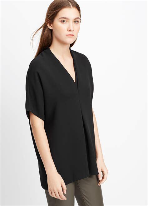 V Neck Sleeve Blouse lyst vince sleeve crepe v neck blouse in black