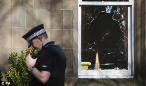 smashed house window fat cats in terror after anti capitalists attack fred the shred s home daily mail online