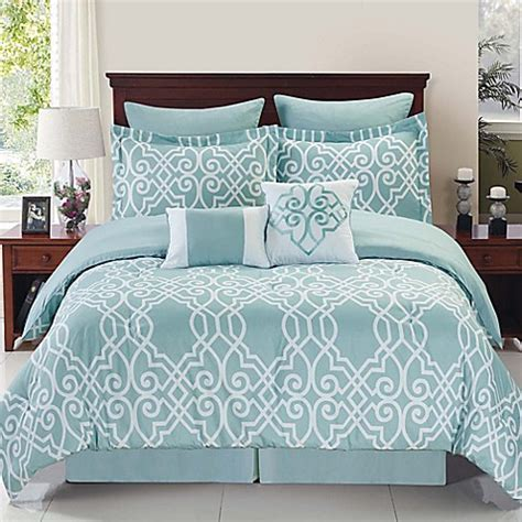 bed bath beyond bedding dawson reversible comforter set in blue white bed bath beyond