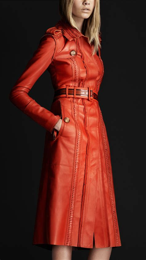 Burberry Style Leather burberry prorsum brogue leather trench coat clothes fashion