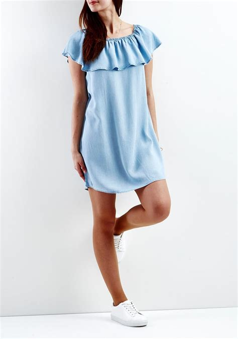 Shoulder Denim Dress Light Blue Blue vila the shoulder denim dress light blue