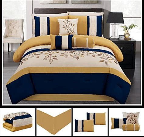 7 piece luxury yellow navy blue beige leaf comforter
