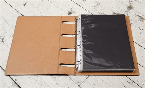 colored binder grained colored espresso all leather 4 ring