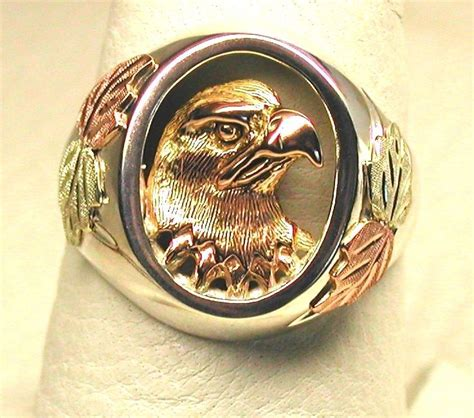 made black gold on silver eagle bust ring by