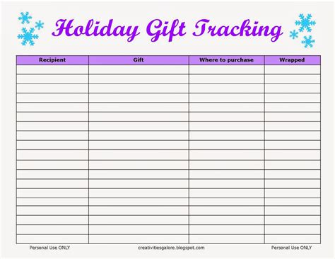 free holiday gift tracking sheet creativities galore