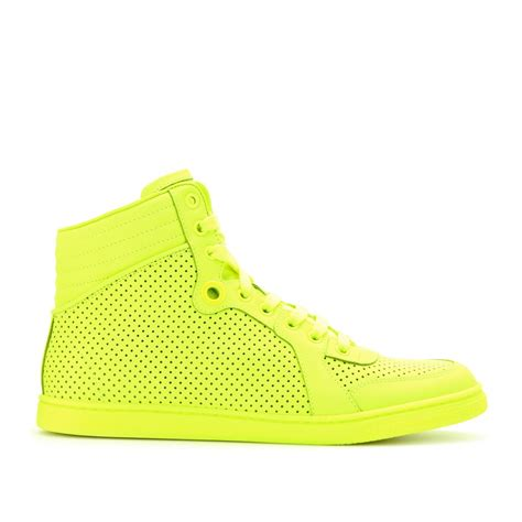 neon gucci sneakers gucci neon leather hightop sneakers in yellow lyst