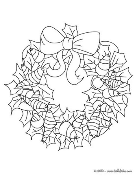holly wreath coloring page ribbons and holly wreath coloring pages hellokids com