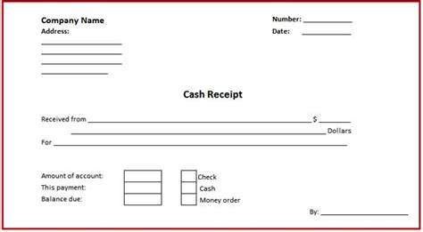 money receipt template receipt and payment account format in microsoft excel