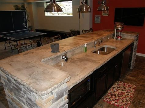 Rock Countertop by White Slab Concrete Counter Top
