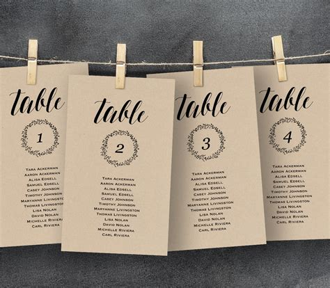 table number cards for wedding reception template wedding seating chart template seating plan table card