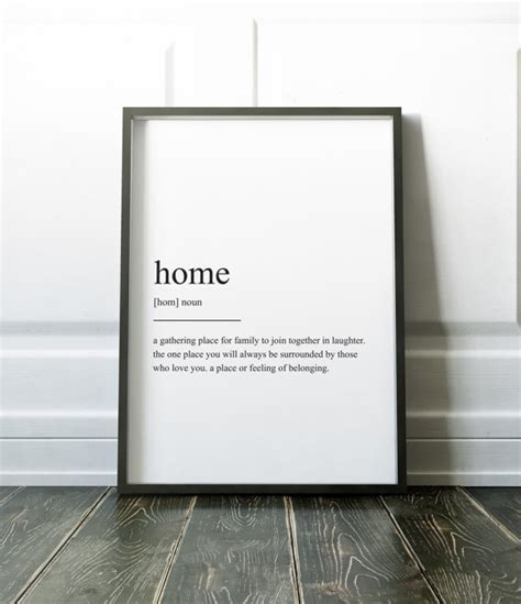 define home decor home definition print wall art prints quote print wall