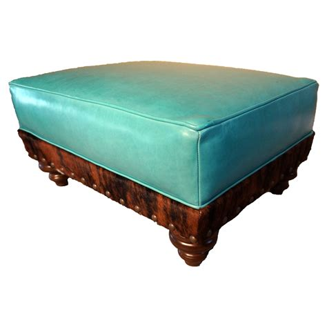 ottoman cowhide turquoise leather cowhide ottoman