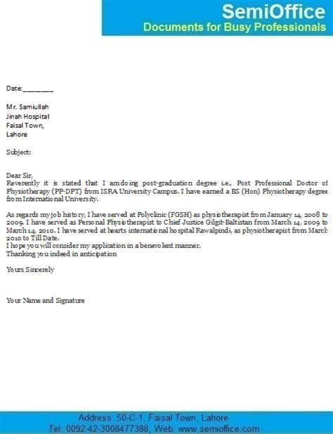 Work Experience Letter Physiotherapist Covering Letter For Physiotherapist