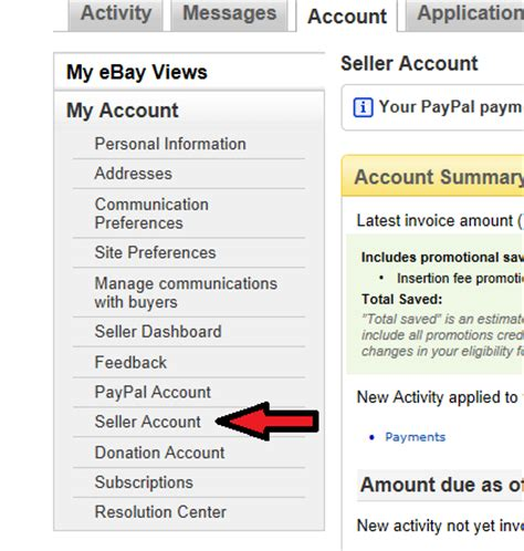 ebay seller account ebay seller fees recurring billing payment the ebay